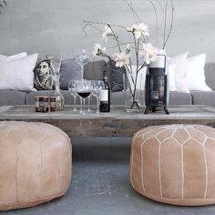 Tan Moroccan leather pouf from Marrakech
