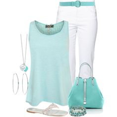 Tiffany Blue by terry-tlc on Polyvore featuring polyvore, fashion, style, Gerry Weber Edition, Gina, Tiffany
