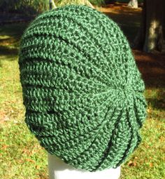 Green Crochet Slouch Hat  Unisex Slouch Hat  by OneInEssence, $12.00