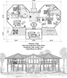 , 3 Bedrooms, 3 Baths, Piling Collection by Topsider Homes Cabin House Plans, Small House Plans, House Floor Plans, Florida House Plans, Florida Home, Building Plans, Building A House, Earthship Plans, Hexagon House