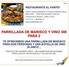 Bono descuento de Parrillada de Marisco y Botella de Vino para 2 personas en el Farito,,, recorta este bono descuento y ven a probarla ,,, invita a tu pareja el día de los enamorados,,, haz tu reserva ..956494414... 676747412,.,,ABIERTO TODOS LOS DÍAS DEL AÑO,,, LA COCINA NO CIERRA TODO EL DÍA,,
