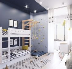 Children's room bedroom for active children Stephanie Lorin Yoga # for kids playroom ideas active for kids kids room lorin bedroom stephanie yoga Cool Kids Rooms, Bedroom For Kids, Childrens Bedroom, Children Playroom, Boy Sports Bedroom, Kids Room Design, Playroom Design, Dream Rooms, Dream Bedroom