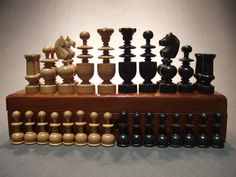 Boxed Complete set ANTIQUE Turned wood wooden CHESS PIECES, Ebonised wood. Play Wood, Chess Boards, Chess Players, Kings Game, Wood Vase, Turned Wood, Mind Games, Chess Sets, Chess Pieces