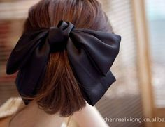 Korea Women Beautiful Big Ribbon Bowknot Bow Hair Clip Silk Fabric Sring Barette