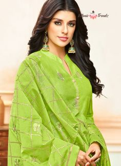 Make the heads turn whenever you costume up with this stunning green art silk designer palazzo suit. The embroidered work appears chic and perfect for any event. Comes with matching bottom and dupatta. Salwar Suits Online, Designer Salwar Suits, Bollywood Dress, Palazzo Suit, Salwar Designs, Green Art, Indian Ethnic Wear, Indian Dresses, Salwar Kameez