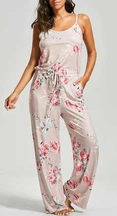Drawstring Floral Print Slip Jumpsuit