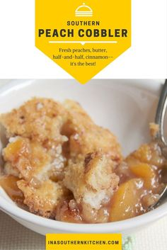 Southern peach cobbler made with fresh or frozen peaches, delicate spices, brown sugar, and a little half and half to make the crust rich and delicious.
