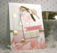 Happy Watercolor by Stampin' Up! and touches of gold.  By Cindy Beach Stamps, Paper, and Ink