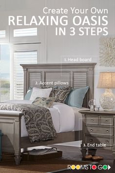 3 Steps for a Relaxing Oasis: 1.Shuttered headboard. 2.Beautiful accent pillows. 3.The perfect end table.  The Belmar collection is crafted of hardwood solids and veneers with island-inspired shuttered panels. Shop now!