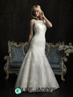 Allure Bridals Wedding Dress Style 8956 | House of Brides, Fit-N-Flare with high neck illusion neckline and keyhole back