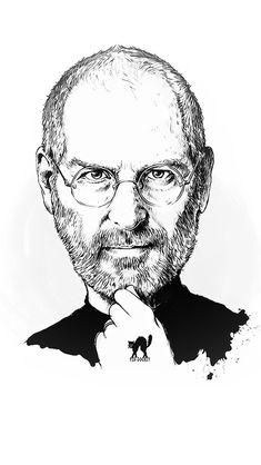 Steve Jobs Portrait Illust Art #iPhone #5s #wallpaper