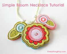 Simple Bloom Necklace Tutorial - DIY Gift Idea for Mom Homemade Mothers Day Gifts, Mother Gifts, Bead Crafts, Jewelry Crafts, Necklace Tutorial, Textiles, Scrapbook Stickers, Fabric Jewelry, Craft Tutorials