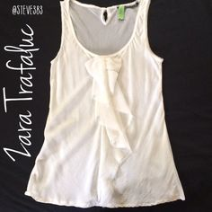 Name your Price! ⚡️Zara chiffon tank This is a stunning Zara Trafaluc tank in a white, very, very light ivory color. The tank is lightly sheer in the front and very sheer in the back. It features rough edges, a bow detail in the front and key hole in the back with a dainty mother of pearl button.  professionally dry cleaned, in wonderful, previously loved condition. Zara Tops Blouses
