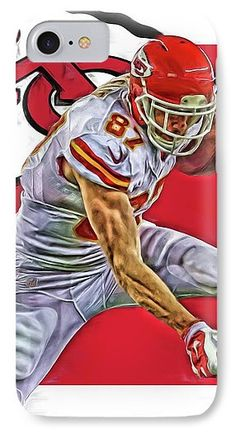 Travis Kelce IPhone 7 Case featuring the mixed media Travis Kelce Kansas City Chiefs Oil Art by Joe Hamilton