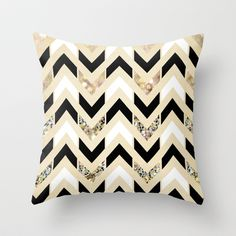 Black, White & Gold Glitter Herringbone Chevron on Nude Cream Throw Pillow by Tangerine-Tane | Society6