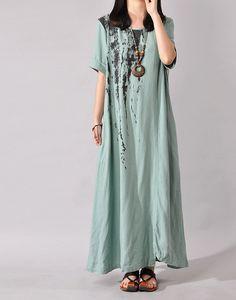 Women Cotton Linen Dress Summer Dress Loose Dresses Large Size Dress Short Sleeve Dress