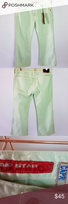 082ccb59b Big Star Capri Jeans Size 29 Mint Straight Leg NW Big Star Capri Jeans Size  29 Waist Flat Lay is Length is Inseam is Color  Mint Straight Leg New With  Tags ...
