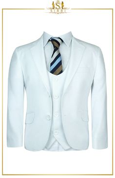 All eyes will be on your young man with this good looking white communion suit. It comes as a 3 piece with a jacket, waistcoat and trousers and also as a 5 piece that includes a shirt and fancy striped tie. Shop now at SIRRI kids #boys formal wear #kids suits #page boy outfits