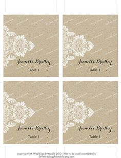 Printable Lace Wedding Place Cards By MyCrayonsPapeterie 10 Instant Download Editable Place