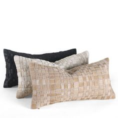 Basket Woven Cowhide Pillow - Our sensuous basket woven cowhide pillows are individually made by hand and each strip is outlined with a topstitch for detail. 9 x 18 inches, 16 x 16 inches or 18 x 18 inches, Free Delivery!