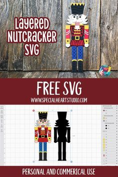 Free Lcayered Nutcracker Christmas SVG Cut file for Cricut, craSilhouette, or other electronic cutting machines. This design is perfect on cardstock for Christmas decorations, ornaments, or cards. Assembly tutorial included in the blog post. This easy-to-do project is perfect for using your cardstock scraps too! #freesvg #christmascrafts #layerednutcracker #cricut #silhouette 3d Christmas, Nutcracker Christmas, Christmas Ornaments, Christmas Craft Projects, Christmas Decorations, Xmas Crafts, Silhouette Machine, Silhouette Cameo, Cricut Craft Room
