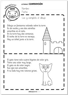 Sustantivos y Verbos: Back to School Comprehension Exercises, Reading Comprehension, Spanish Language Learning, Teaching Spanish, Preschool Learning, Learning Activities, Spanish Classroom Activities, Learning Quotes, Spanish Lessons For Kids