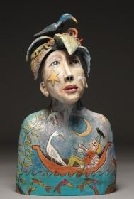 Su Griggs-Allen | Mixed Media; Using a Raku clay-body, she concentrates on developing sculpture with a sublime expressionistic style which is full of wonder. Hand-built, with a slab/coil method of construction, most of the pieces are semi-abstract and figurative in form. With a painterly approach, the surface of each piece is treated with line work, textural glazes, oxides, color and stains. #artbyhand Philadelphia Museum of Art Craft Show