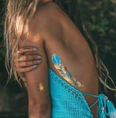 Gold and turquoise temporary tattoo