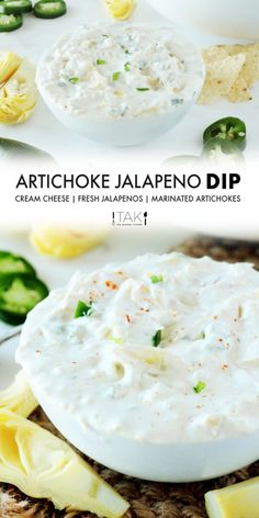 Creamy Artichoke Jalapeño Dip is a cream cheese dip your guests won't be able to get enough of. Seriously — you might want to make a double batch. It's that good. Fresh jalapeños and marinated artichokes are the stars of the show here. Serve this make-ahead party dip cold or at room temperature with tortilla chips and watch the crowd go wild!