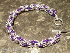 Chainmaille Bracelet, Byzantine, Uk Shop, Swag, Charmed, Facebook, Purple, Bracelets, Silver