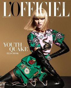 Elsa Hosk wears print dress Pose for L'Officiel Malaysia Magazine December 2015 January 2016 Cover shoot