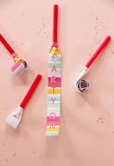 If you're looking for a fun project for your next party or NYE celebration- check out these DIY party blowers I made over on ! by shopbracket Diy Party Blower, Party Blowers, Diy Party Noise Makers, Colorful Birthday Party, Alphabet Stickers, For Your Party, Fun Projects, Diy Tutorial, Scouts