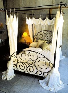 Spiral Bed with Canopy by deliafurniture on Etsy. Sooooo sexy! It is things like this that make me (still) want to learn how to weld.