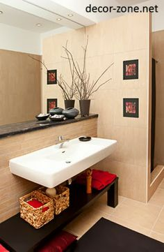bathroom decorating ideas in spa style, bathroom mirrors, bathroom shelves for small bathrooms