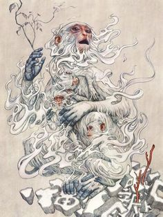 """supersonicart: """"James Jean, """"Year of the Monkey"""" Print Release.James Jean will be releasing a print next Tuesday, January 2016 entitled """"Year of the Monkey"""" for only one hour starting at Art And Illustration, Creative Illustration, James Jeans, Inspiration Art, Art Inspo, Monkey Art, Monkey King, Monkey Drawing, Arte Sketchbook"""