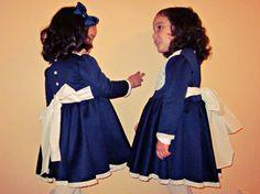 Vestido niña.Punto Azul por Moniquesthingsshop en Etsy