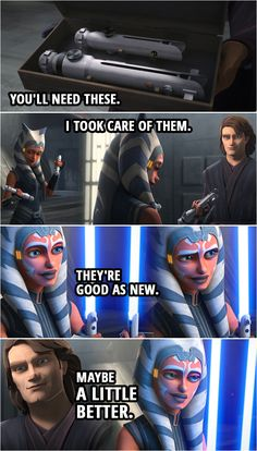 Quote from the TV show Star Wars The Clone Wars Anakin Skywalker If you re going to face Maul you ll need these I took care of them They re good as new Maybe a little better Star Wars Rebels, Star Wars Episoden, Star Wars Meme, Star Wars Facts, Star Wars Droids, Star Wars Baby, Star Wars Clones, Jabba The Hutt, Star Wars Poster