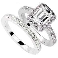 Emerald-Cut Halo Bridal Set by http://www.engagediamonds.com/