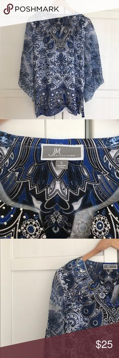 JM Collection Blouse Patterned Blouse - black, blue, & white - sheer sleeves - perfect condition - only worn once - JM Collection Macy's Tops Blouses