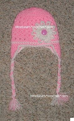 CROCHETED BRAIDED FLOWER BUTTON HAT https://www.facebook.com/littlebearscrochetden/photos/a.302104733148166.77776.129247753767199/884305458261421/?type=1&theater