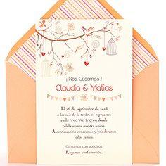 Invitación de boda Love Tree: moderna y original con delicados dibujos de jaulas vintage, corazones y banderines