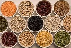 beans and lentils - red lentils, green lentils, yellow lentils, kidney beans, chick peas, green split peas---for soup, chili, salads.....