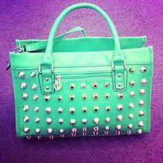 Wishlist:: Mint Tiffany Blue Bag <3 Studded Purple Background  Fashion Style Love