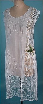 1920's Lace Dress of White Cotton Batiste and Filet Lace