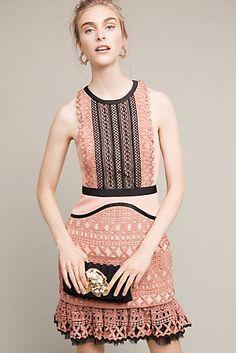 Flounced Lace Mini Dress