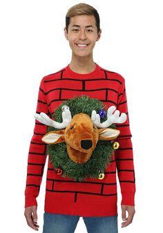 Amazon.com: Reindeer Head Ugly Christmas Sweater: Clothing