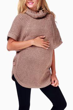 Mocha Knit Short Sleeve Button Maternity Sweater