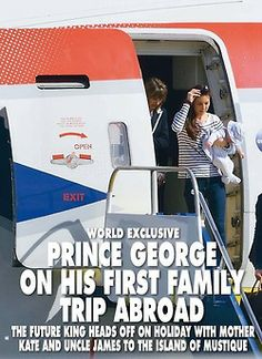February 2014 - The exclusive photos of #PrinceGeorge and #Kate as they land in Mustique - found in HELLO Mag posted via minimiddleton.tumblr
