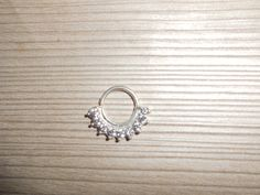 Beautiful Silver With Gemstone Sated Septum ring For Pierced Nose- indian nose ring-nose hoop- Nose bali-nose jewellry