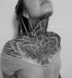 Neck Tattoos Women, Chest Tattoos For Women, Sexy Tattoos, Body Art Tattoos, Girl Tattoos, Sleeve Tattoos, Chest Neck Tattoo, Throat Tattoo, Muster Tattoos